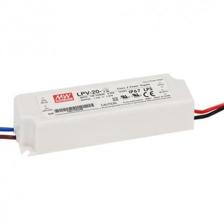 LPV-20-24 MeanWell LPV-20-24 Alimentatore LED MeanWell - CV - 20W / 24V Alimentatori LED